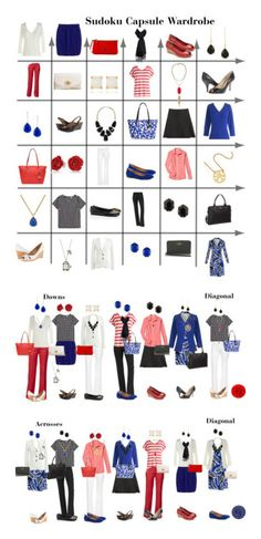 Red, White & Blue Sudoku Capsule Wardrobe by kristin727 on Polyvore featuring polyvore, fashion, style, Kate Spade, Coach, J.Crew, DL1961 Premium Denim, MINKPINK, Nine West, Tory Burch, Kendra Scott, Dooney & Bourke, Diane Von Furstenberg, Clarks, clothing, Yves Saint Laurent and Smith & Cult