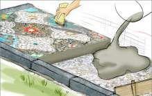 Mosaik, Muster putzen, Fugen glätten