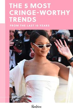 In celebration of PureWow's tenth anniversary, we dug through the archives to find some of the decade's questionable trends. From clear shoes to cold-shoulder tops, prepare for a cringe-worthy trip down memory lane. #trends #cringeworthy #fashion Clear Shoes, Cringe, Rihanna, Kim Kardashian, High Low, What To Wear, Style Inspiration, Celebrities, Fashion Trends