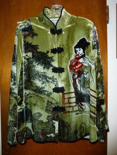 Womens Vintage Drapers and Damons Asian Velveteen Dressy Jacket Top L Large Wearable Art http://etsy.me/2nORpCW #clothing #women #shirt #wearableart #geishajacket #geishatop #womensdressyjacket #asianjacket #asiant