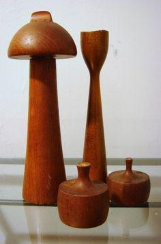 Vintage teak pepper mills from Dansk.