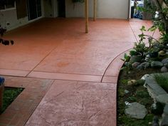 close up picture of a hand troweled concrete overlay. tile pattern ... - Stained Concrete Patio Designs