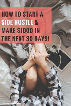 How to start a side hustle - make money in 30 days or less! #sidehustle101 #freelancing #bloggingtips Make Money From Home, Way To Make Money, Make Money Online, Money Fast, Money Today, Blogger Tips, Home Based Business, Online Business, Business Ideas