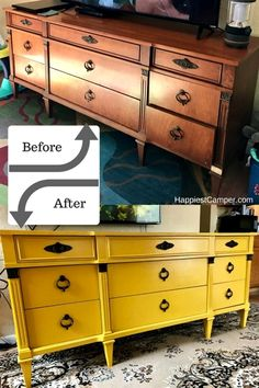 Yellow Dresser Makeover 2019 Dresser Makeover Mustard Yellow This dresser makeover is so bright and happy. A furniture DIY that makes me happy! The post Yellow Dresser Makeover 2019 appeared first on Furniture ideas. Refurbished Furniture, Farmhouse Furniture, Repurposed Furniture, Shabby Chic Furniture, Rustic Furniture, Kids Furniture, Vintage Furniture, Furniture Stores, Furniture Design