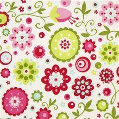 riley blake fabric | white Riley Blake laminate fabric with colourful flowers USA fabric
