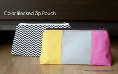 Color Blocked Zip Pouch tutorial