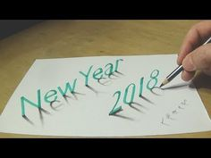 Happy New Year 2018 - Drawing 3D Text Art - Vamos - YouTube