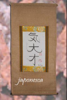 Pergamino colgante kakejiku con tu nombre en japonés de Japonesca en Etsy