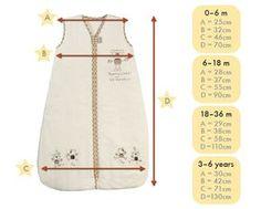 size chart baby sleeping bag