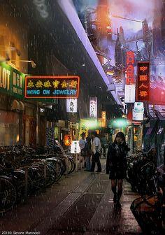 Japan - Blade Runner-esque street scene in Tokyo Cyberpunk City, Futuristic City, Blade Runner, Science Fiction, Sci Fi Environment, Post Apocalypse, Slums, Shadowrun, Future City
