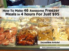 46 Homemade Freezer Meals (For $95) This would work better if you use some sort of vaccum sealer...I personally use FoodSaver and slide close products