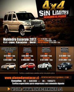 Promociones,Ofertas,Descuentos,Rent a Car 4x4,Transportes y Turismo en Santiago de Chile,Contacto:rentacarchile@gmail.com