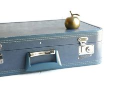 Blue Monarch Suitcase w/ KEY by cheerfulowl on Etsy, $38.00