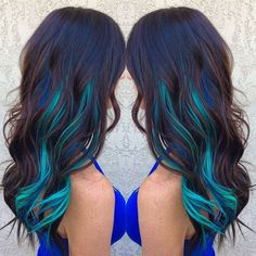 Brown Hair WIth Blue and Turquoise Streaks:
