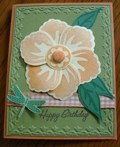 Punched flower birthday card