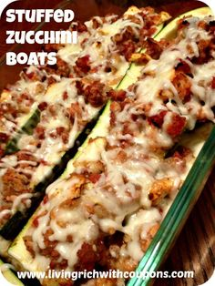 One of our top pinned posts!  Stuffed Zucchini Boats Recipe!  So Yummy!  So easy!