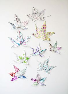Make gorgeous silver fall leaves decorate with kids' art.