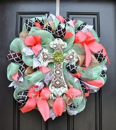New to CreationsbySaraJane on Etsy: Spring Cross Wreath in Mint Coral and Black with Quatrefoil USD) Wreath Crafts, Diy Wreath, Wreath Ideas, Wreath Making, Tulle Wreath, Diy Crafts, Easter Wreaths, Holiday Wreaths, Holiday Decorations