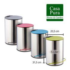 Mülleimer Abfallbehälter Elva mit Tretfunktion | 5L Fassungsvermögen | inkl. Inneneimer mit Henkel - Rot