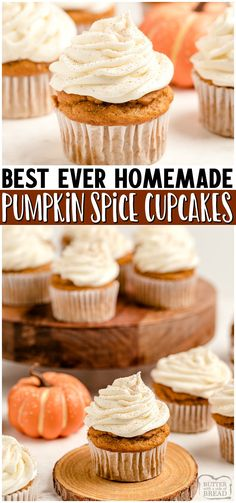 Pumpkin Spice Cupcakes with Cream Cheese Frosting are the perfect little treats for celebrating Fall! Easy recipe that starts with yellow cake mix and yields soft, moist perfectly spiced pumpkin cupcakes! #cupcakes #pumpkin #pumpkinspice #psl #baking #dessert #easyrecipe from BUTTER WITH A SIDE OF BREAD Healthy Dessert Recipes, Cupcake Recipes, Easy Desserts, Real Food Recipes, Delicious Desserts, Cupcake Cakes, Muffin Recipes, Cup Cakes, Pumpkin Recipes