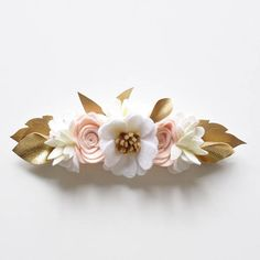 Felt flower crown neutral colours and gold large flower