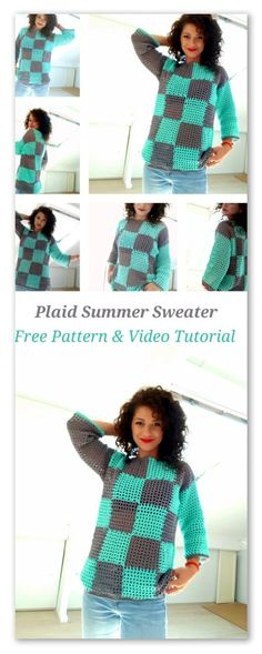 Plaid Summer Sweater. Free pattern with chart and sketches and video tutorial