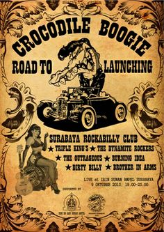 Pamflet Road to launching 1 @CrocodileBoogie, At campus IAIN Sunan Ampel Surabay #Rockabilly #Music #vintage