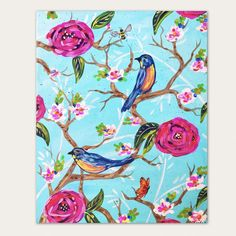 Your place to buy and sell all things handmade Chinoiserie, Pop Art, My Etsy Shop, Bird, Wall Art, Abstract, Canvas, Floral, Artist