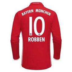 16-17 FC Bayern Munichen Cheap Home Long Sleeve Replica Shirt #10 ROBBEN [E765]