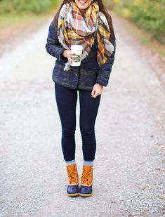 I love the llbean duck boots with that kind of outfit. Not a big fan of orange though.