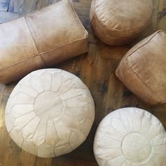Moroccan leather pouf // hand-stitched premium by viaMelinda