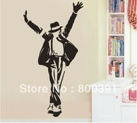 Free shipping 1pcs Retail Michael Jackson wall decal icon figure wall sticker, MUSIC size 60*90cm LARGE home decorations