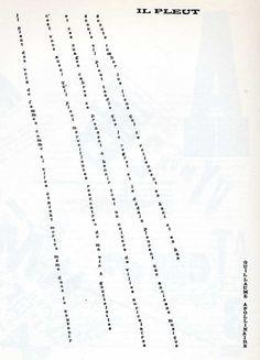 Guillaume Apollinaire: Il Pleut. Typographic poem, 1918.