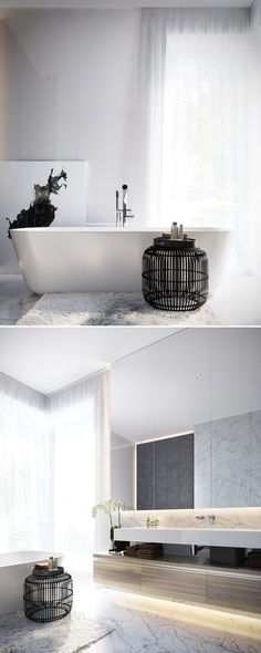 Browse contemporary bathroom design photos and decorating ideas from top interior designers. Marble Bathroom Accessories, Diy Bathroom Decor, Bathroom Renos, Bathroom Interior Design, Bathroom Lighting, Bathroom Table, Vanity Lighting, Interior Decorating, Marble Bathroom Floor