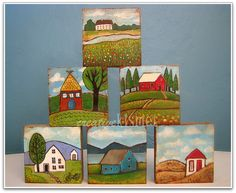 Little Houses :: Shop Update Little House Mixed Media Art Blocks by Regina (creative kismet) Art Mini Toile, Art Altéré, Fun Art, Mini Canvas Art, Small Paintings, Small Art, Little Houses, Small Houses, Teaching Art