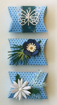 Mini pillow box with little ornaments - gift wrapping -