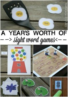 A Years Worth of Sight Word Games in One Spot. This is such a huge time saver! They are perfect for kindergarten, first grade or second grade literacy centers, word work stations, guided reading groups. Teaching Sight Words, Sight Word Practice, Sight Word Games, Sight Word Activities, Literacy Activities, Emergent Literacy, Sight Word Flashcards, Preschool Literacy, Kindergarten Centers