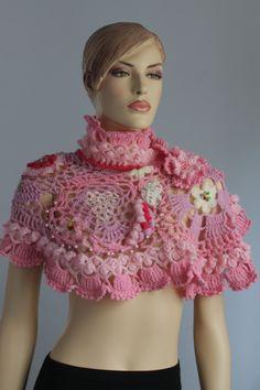 Freeform  Crochet Wrap - Wedding Shrug - Wearable Art - OOAK. $145.00, via Etsy.
