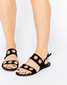 Image 1 ofGlamorous Eyelet Strap Flat Sandals