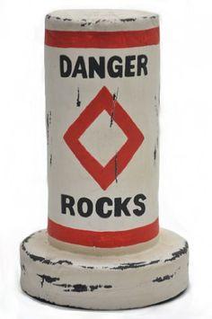 Wood Danger Rocks Float Buoy Bob Round Rules Ocean Sea Sh...
