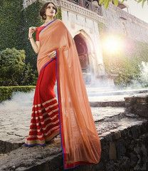 Peach & Red Color Georgette Party Wear Sarees : Panishka Collection  YF-41386
