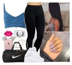 """""""Im Cute Bih ."""" by saucinonyou999 ❤ liked on Polyvore featuring J Brand, Yummie by Heather Thomson, NIKE, Lime Crime and MAC Cosmetics"""
