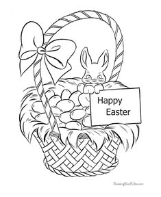 Printable Happy Basket Easter Coloring Page Bunny Colouring Egg Pages Spring