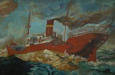 """Wm. Findlay."" American Impressionist Cargo Ship Oil Painting"