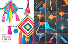 Make your own DIY Ojo de Dios - easy tutorial at https://happythought.co.uk/craft/tutorials/how-to-make-ojo-de-dios  Gods Eye tutorial