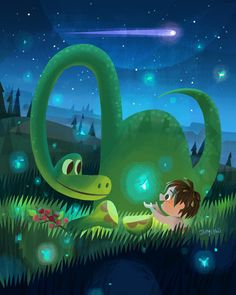 """Here's the image for the good dinosaur art release at disney wonderground gallery. November Take part in a """"dino-mite"""" artist signing with Joey Chou and Jerrod Maruyama featuring artwork. The Good Dinosaur, Dinosaur Art, New Pixar Movies, Film Pixar, Disney Fan Art, Disney Love, Disney Magic, Disney E Dreamworks, Disney Pixar"""