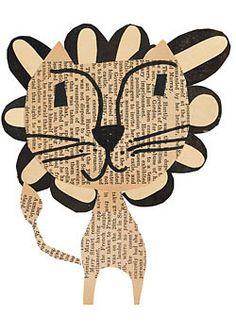 paste lion art collage piece