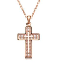 Cross Necklace 18K Yellow / Rose Gold Plated with CZ Gemstones, Christmas Gifts for Women / Girls, Best Holy Religious Christian Pendant Fashion Jewelry Presents - by Elegant Value (Rose Gold). 18K Gold plated metal with top grade CZ Gemstones for enhanced sparkle. This lovely piece adds grace and charm to any outfit. This unique & elegant Cross Necklace Fashion Jewelry makes very nice present & thoughtful gift for any occasions. Eco-Friendly: Made with high quality material for long lasting…