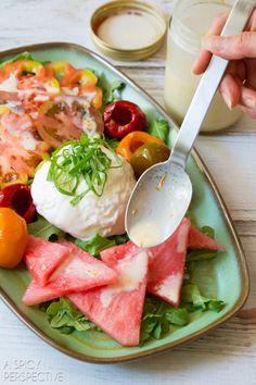 Watermelon Salad with Burrata and Yogurt Dressing. Healthy, summery, fresh lunch option