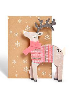 3D Novelty Reindeer Christmas Card Home